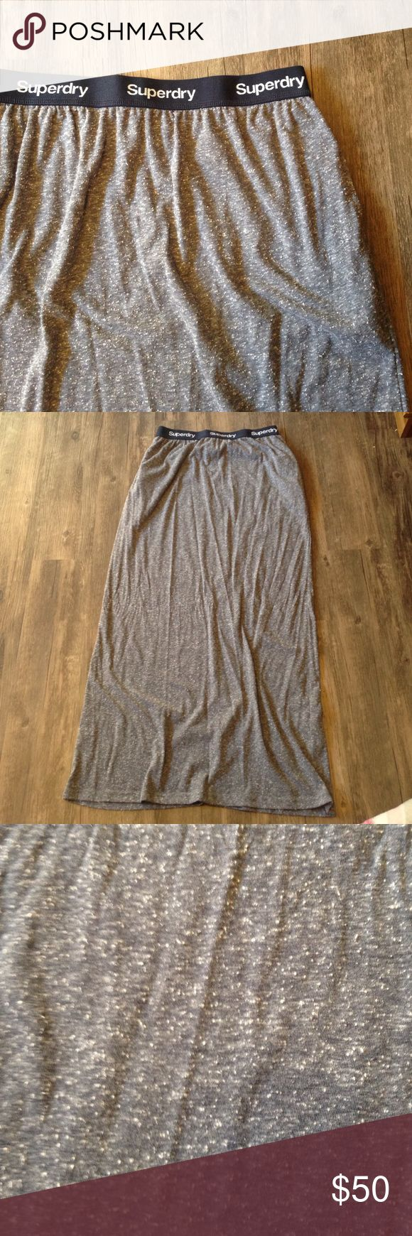 "Superdry Gray Maxi Skirt Good shape. Heather gray. Pockets.   Waist - 14"",  Length - 39""  Please don't hesitate to ask questions!  Same/Next day shipping! Superdry Skirts Maxi"