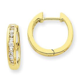 These hoops are absolutely brilliant! The combination of breathtaking I1 Clarity, GHI Color diamonds with 14k yellow gold will stop you in your tracks. Also available in 14k white gold. - Material: 14