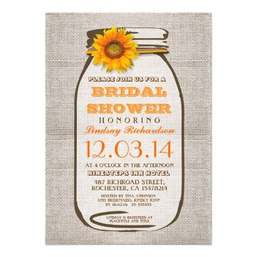 Rustic Burlap Mason Jar Sunflower Bridal Shower Invitations