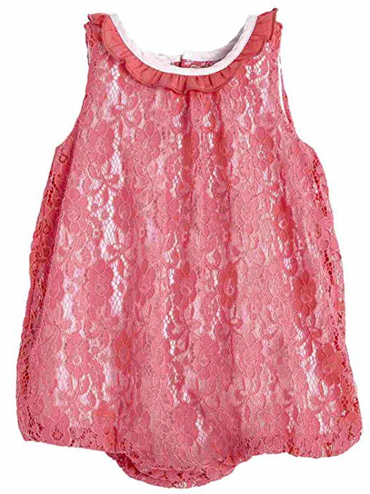 c6ed3580f865 Amazon.com  Infant Girls Pink Lace Short Sleeved Romper Baby Outfit 0-3  Months  Clothing