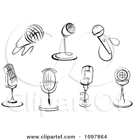 Clipart Black And White Karaoke Or Singer And Retro Radio Desk Microphones - Royalty Free Vector Illustration by Seamartini Graphics