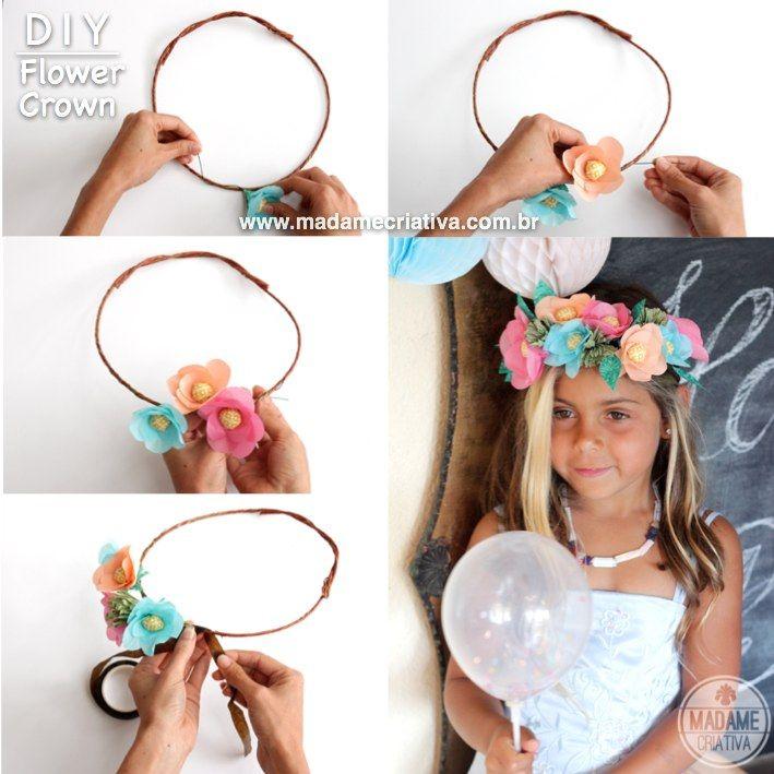 Como fazer coroa de flores de papel ou flores artificiais - passo a passo - DIY paper Crown
