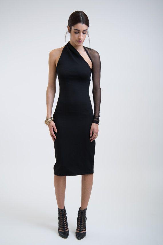 NEW Black Mesh Dress / One Shoulder Pencil Dress / by marcellamoda
