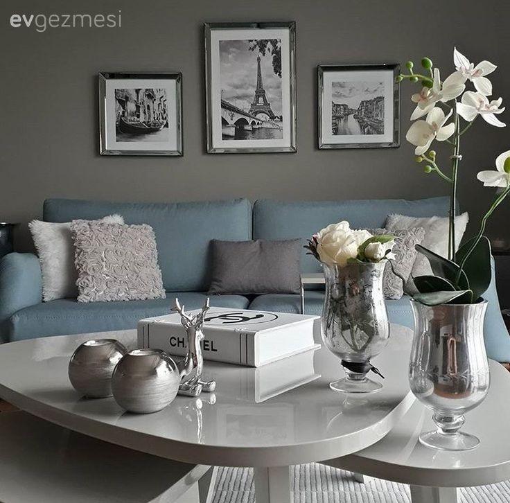 Ayna, Duvar dekorasyon, Gri, Mavi, Minder, Orta sehpa, Salon