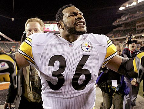 "Jerome Bettis, Pittsburgh Steelers! ""Do you not know that in a race all the runners run, but only one receives the prize? So run that you may obtain it.""  1 Corinthians 9:24 ESV"