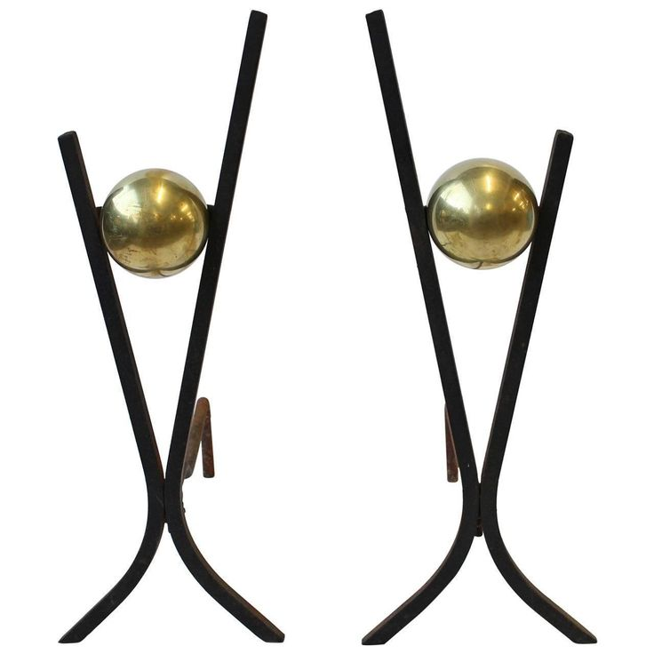 Stylish Midcentury Iron and Brass Andirons | From a unique collection of antique and modern fireplace tools and chimney pots at https://www.1stdibs.com/furniture/building-garden/fireplace-tools-chimney-pots/