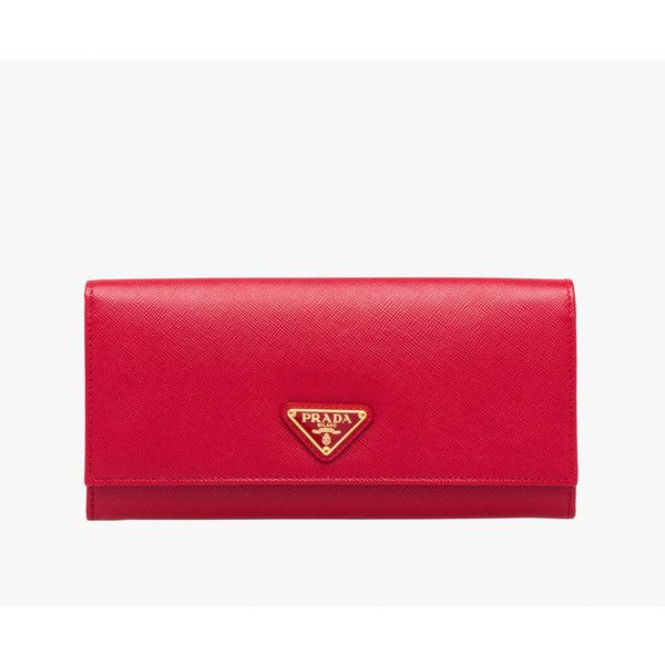 PRADA Wallet ($665) ❤ liked on Polyvore featuring bags, wallets, red, women, chain wallet, red wallet, prada, prada bags and shoulder bags