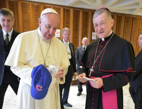 Pope Francis now has a blue Chicago Cubs hat to go with his traditional white skull cap.