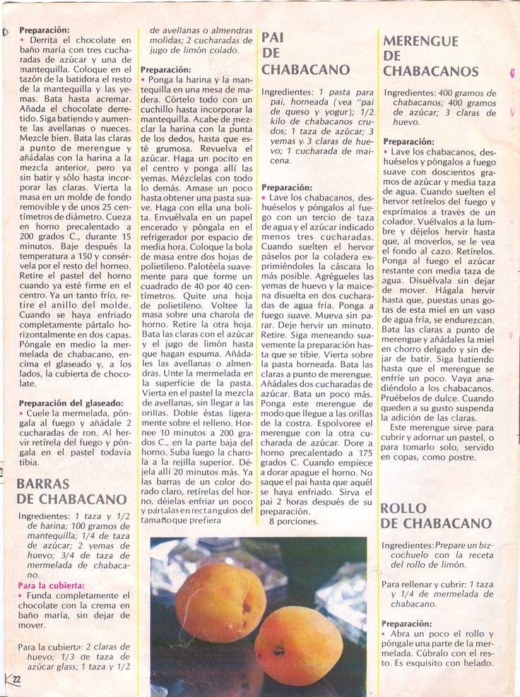 """Pastel de Chocolate Amargo y """"Melocotón"""" (Cont.), Barras de """"Melocotón"""", Pie de """"Melocotón"""" """"Suspiro"""" de """"Melocotón"""", Rollo de """"Melocotón"""". Página de un ejemplar de Revista Kena, recetas. Años 70s u 80s"""