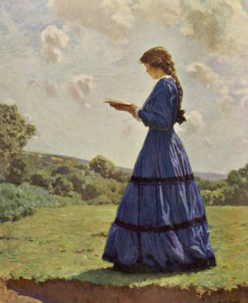 Girl stands in a field reading her book' Harold Knight (1874-1961)