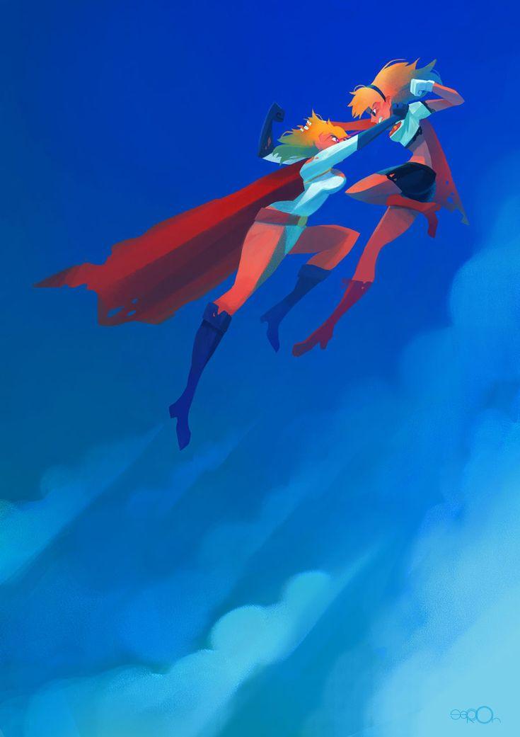 Super catfight- Supergirl vs powergirl