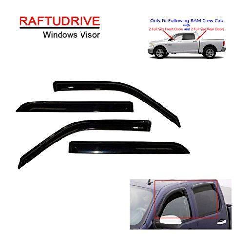 RAFTUDRIVE 4pcs vent shade window visors:   Fitmentbr2009-2010 Dodge Ram 1500 Crew Cab Only (Not Fit Other Cab Models)br2011-2017 Ram 1500 Crew Cab Only (Not Fit Other Cab Models)br2010 Dodge Ram 2500/3500 Crew Cab Only (Not Fit Other Cab Models)br2011-2017 Ram 2500/3500 Crew Cab Only (Not Fit Other Cab Models)br*Note:The crew cab has 4 full size doos. This item will not be compatible with ram 1500 quad cab which has smaller size rear doors. Please make sure your pickup is the correct ...