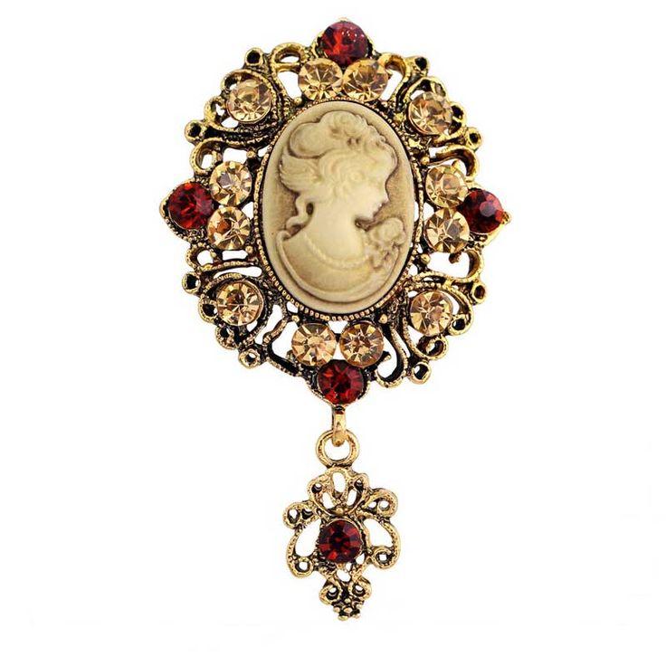 Retail Vintage Gaya Victorian Style Lady Cameo Bros Independen Penurunan Hadiah Pins Pins Bros New Trendy Elegan Anti-emas