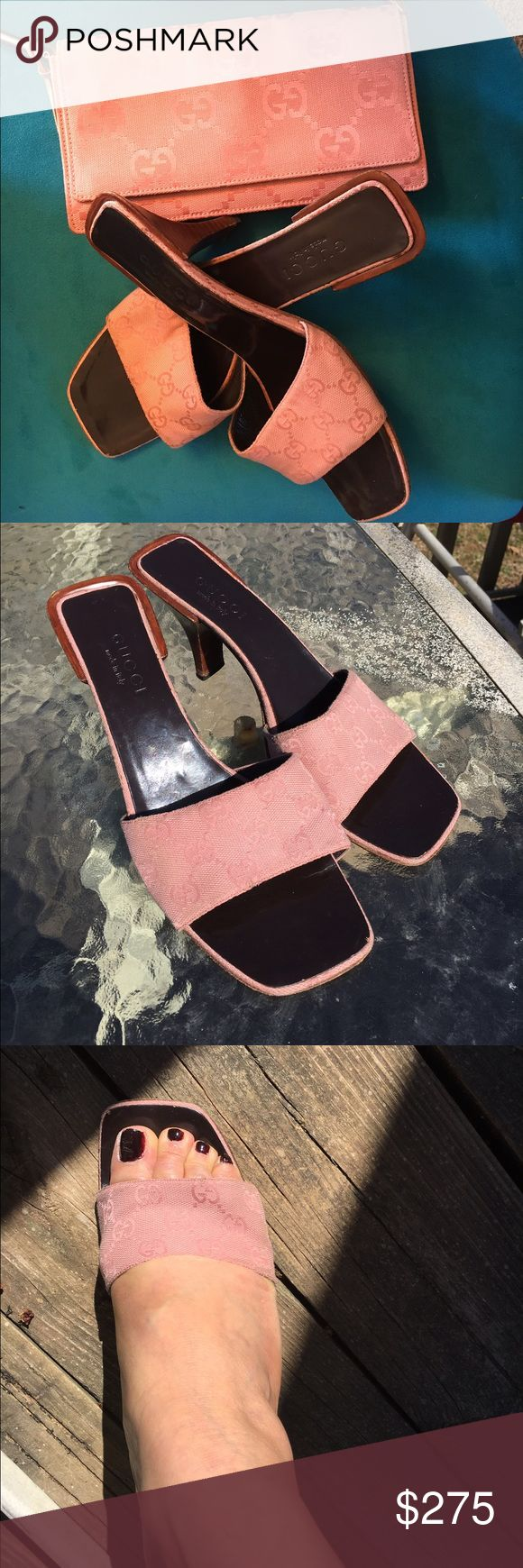 """Gucci Authentic signature Sandals & Purse Gucci signature """"G"""" pale pink slide & matching bag. I loved wearing these with jean, shorts & skirts. Starting to show wear a few scuffs & scratches around the heel area. But life isn't over for theses sexy cute mules. Worn condition. Price to reflect wear. Size 9• Bag is like new. Price$ for both Gucci Shoes"""