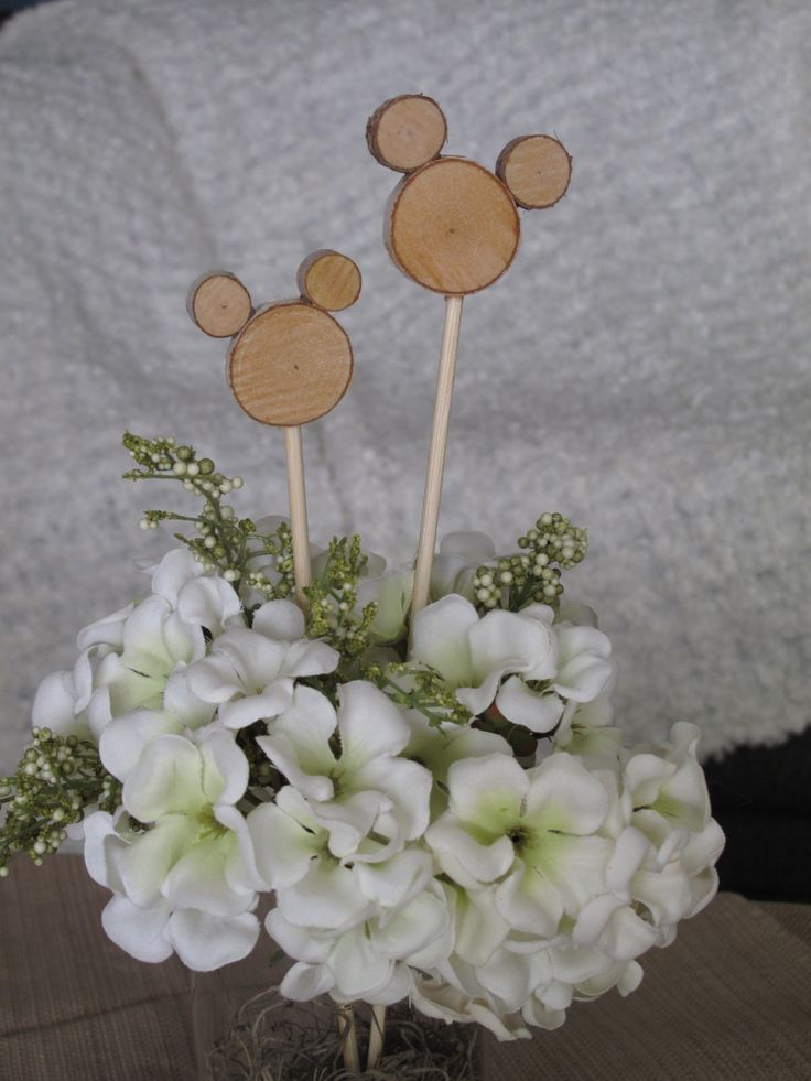 Disney Wedding Centerpiece Mickey Mouse Wood Floral Embellishments Set of 8 by aTOUCHofDISNEY on Etsy https://www.etsy.com/listing/243959077/disney-wedding-centerpiece-mickey-mouse