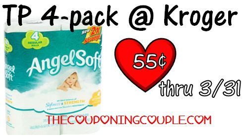 Cheap Angel Soft TP at Kroger through March! Click the link below to get all of the details ► http://www.thecouponingcouple.com/cheap-toilet-paper-at-kroger-as-low-as-45-cents-better-with-doubles/  #Coupons #Couponing #CouponCommunity