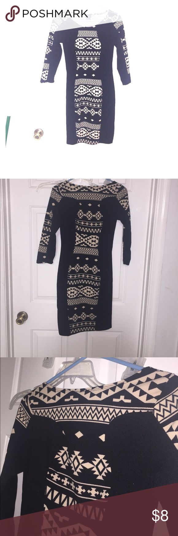 Rue21 XS Aztec Bodycon Dress Gently used rue21 dress. Size: X-Small. Very stretchy. Cute Black and Tan Aztec design. Length: 35. Armpit to armpit: 15. 3/4 Sleeve. Rue21 Dresses Midi