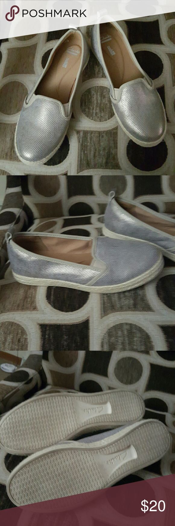 Clarks Metallic Espadrilles Womens metallic espadrilles, criss between a gold and silver, sz. 9 Wide Clarks Shoes Espadrilles