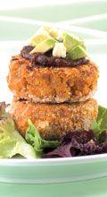 Pumpkin, kumara and walnut patties with feta and avocado - New Zealand Womans Weekly