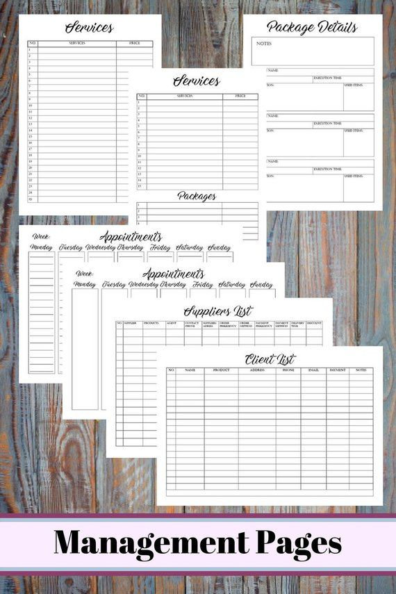Big Beauty Salon Business Printable Planner Bundle Hair Stylist