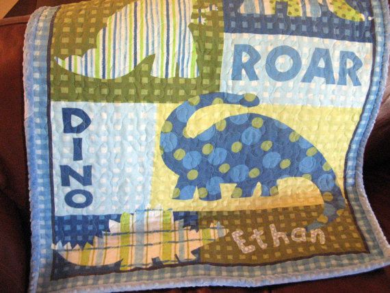 Dinosaurs Quilt Boy Quilt Personalized Made To Order Blue