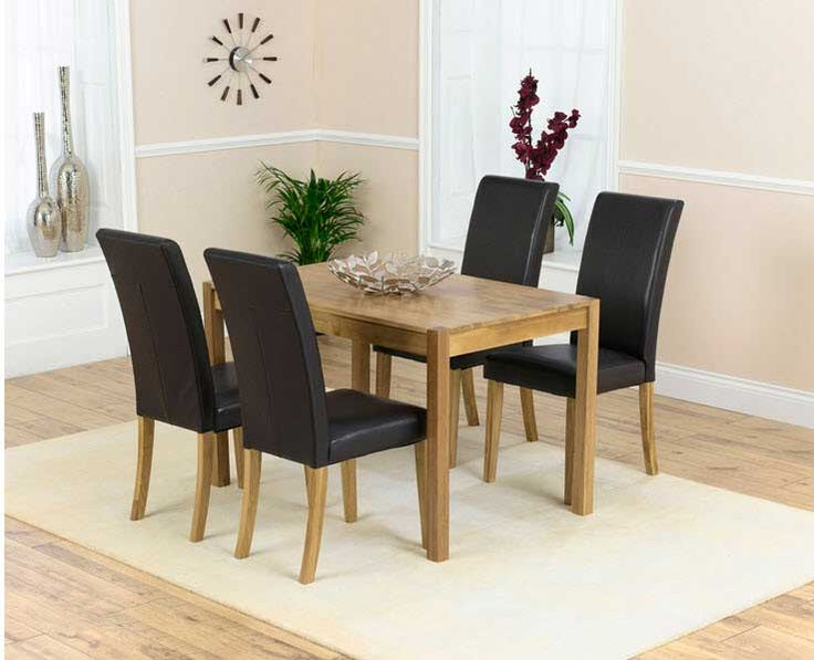 70 Percent OFF Oxford Solid Oak 120cm Dining Table With 4 Brown Albany Faux Leather Chairs