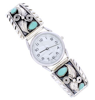 Turquoise Southwestern Sterling Silver Watch BW71834
