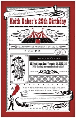 Birthday invitations I made for a loved one's upcoming birthday party. Made through Vistaprint.: Business Cards, Carnivals Birthday, Birthday Parties, Flats Invitations, Birthday Invitations, Big Top, Parties Ideas, Carnivals Parties, Parties Invitations