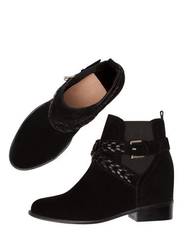 STRADIVARIUS - Suede ankle boots with inside wedge