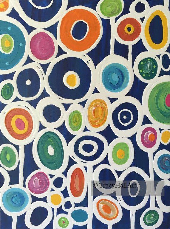 Modern Circle Art Painting Geometric Art Colorful Abstract Etsy Circle Art Circle Painting Pop Art Painting