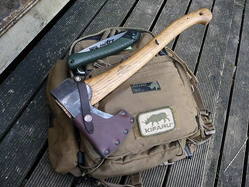 GB SFA.  Gransfors Bruks Small Forest Axe, the perfect companion to a Bacho Laplander saw and Kifaru E&E.  Full specs here http://www.gransforsbruk.com/en/products/forest-axes/gransfors-small-forest-axe .