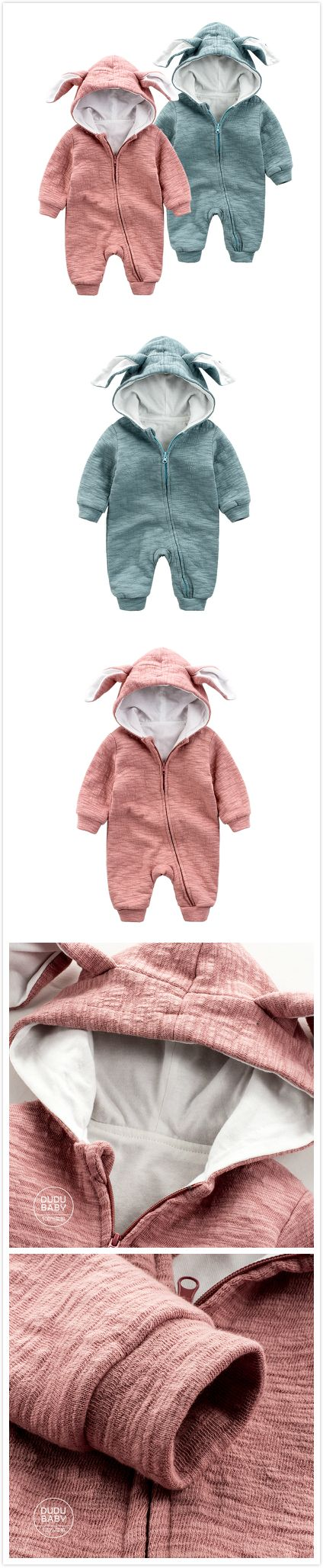 Infant toddler Baby Unisex Hooded  Clothes Jumpsuit Long Sleeve 4 Color 3-24Month For Autumn Winter