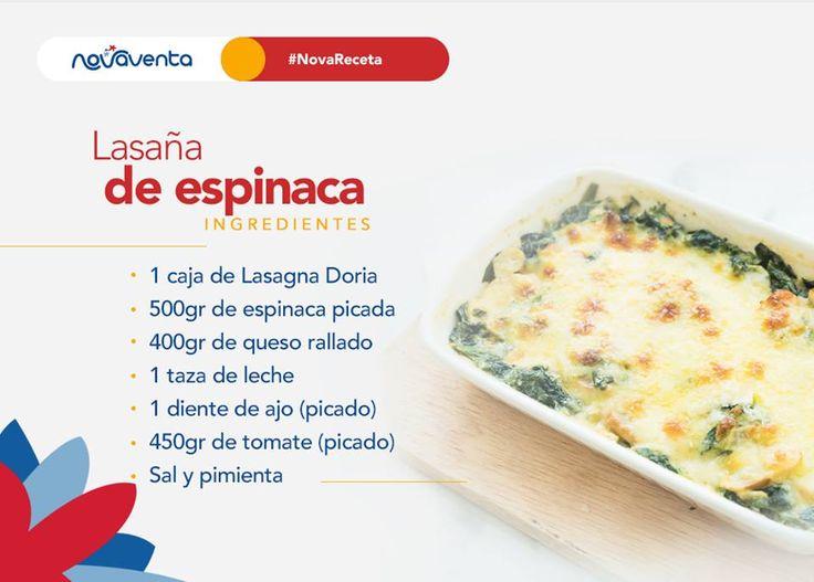 ¿Qué tal una lasaña de espinaca?  Precalienta el horno a 175°. En una taza mezcla la espinaca, el queso rallado, la leche, el ajo y el tomate. Unta mantequilla al fondo de una refractaria. Agrega 1 capa de lasaña, seguido por una de mezcla y repite el proceso hasta llenarla. Esparce queso rallado. Hornea durante 20 minutos.