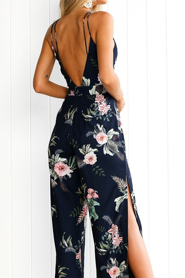 f8d6a30538a Dark Blue Floral Printed Plunging Spaghetti Strap Tie Waist Slit Wide Leg  Sexy Jumpsuit   Sexy Rompers And Jumpsuits For Women-Strapless Jumpsuit
