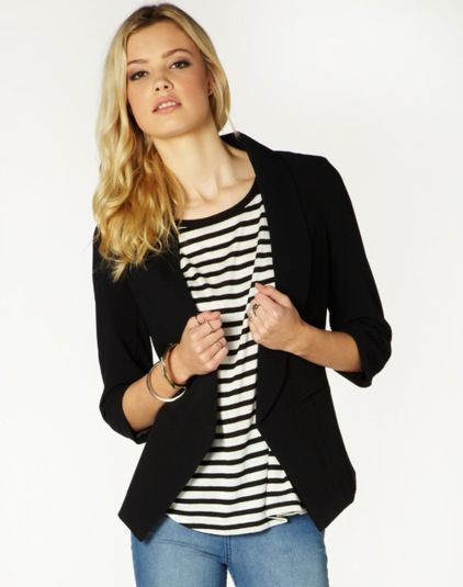 Black 3/4 Sleeve Crepe Blazer Front