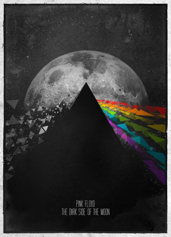 Pink Floyd artwork poster - two sides to life - colourful, dark - mh and positive/negative
