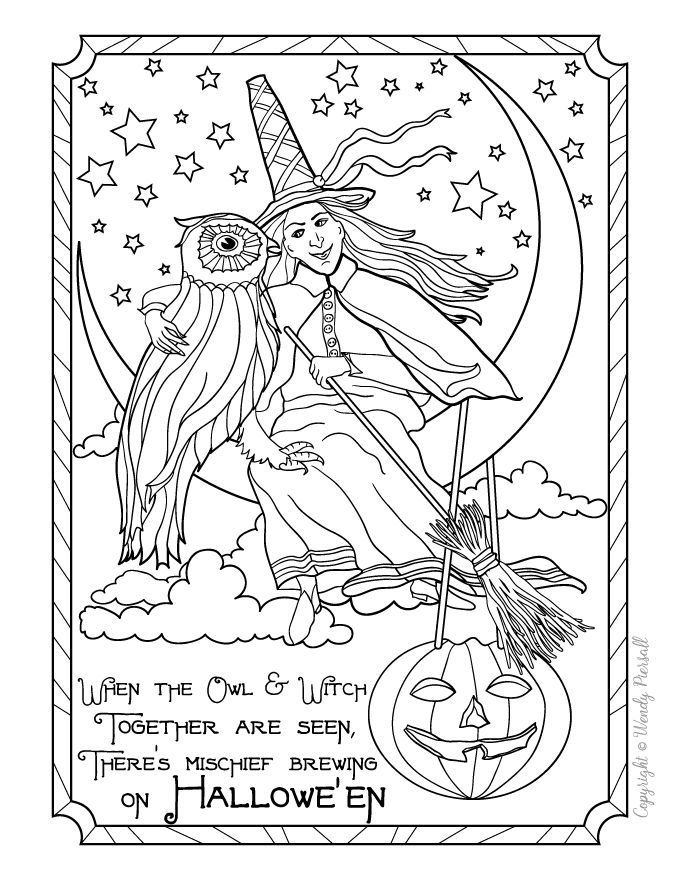 88 best witches werewolves halloween colouring images on for Halloween coloring pages for adults printables