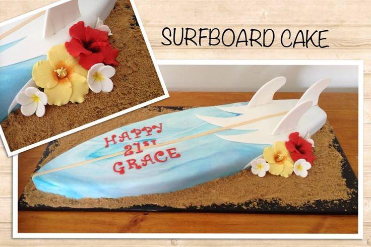 Surfboard Cake!  www.facebook.com/EASYCAKEFUN #surboardcake