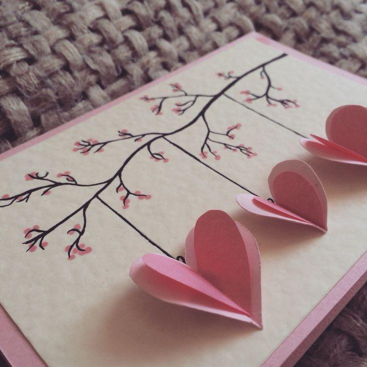 Quilled hängende Herzen, handgemachte Mutter Tageskarte, Herzen hängen von einem Zweig, Valentines Day Card, Geburtstagskarte, Jubiläumskarte