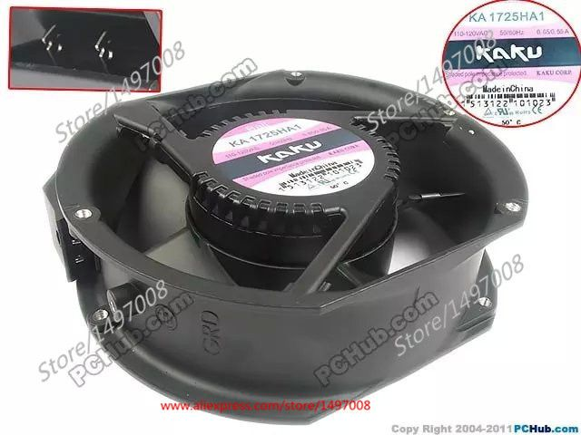 Free Shipping For  Kaku KA1725HA1 AC 110-120V 0.65/0.55A 2-pin 175X150X51mm Server Round Cooling fan