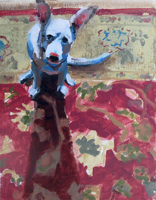 """Miki On the Carpet by Bill Sharp. oil on linen panel  14"""" x 12"""""""
