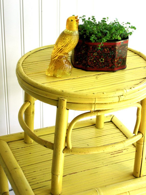 2 Sunny Yellow Bamboo Stools vintage rattan  retro bohemian cottage Nursery decor  accent table home decor painted furniture