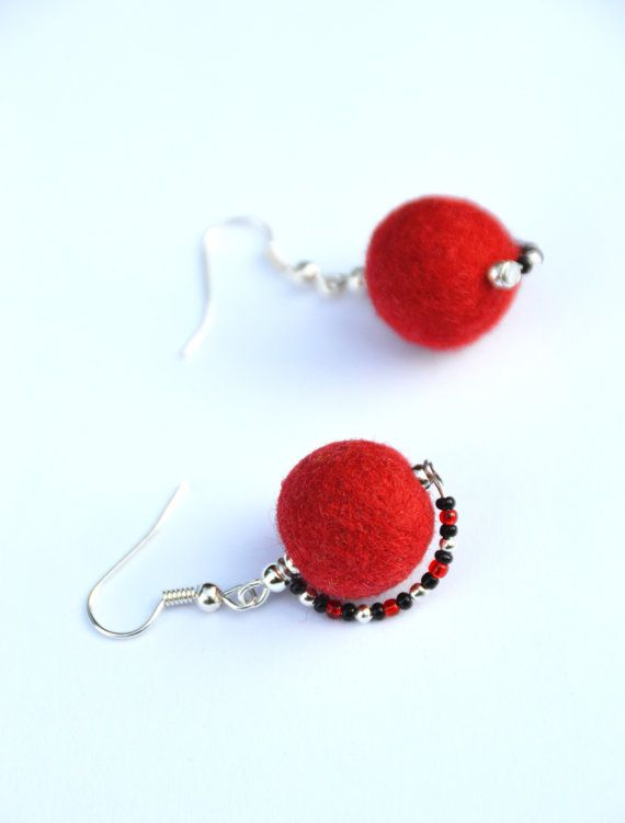 Felt earrings Red felt earrings beads felt wool by JirsaFELT