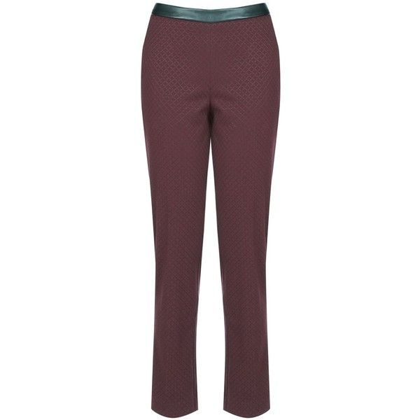 Oasis Jacquard Trouser (£32) ❤ liked on Polyvore featuring pants, burgundy, women, holiday pants, jacquard pants, brown pants, brown trousers and cigarette pants