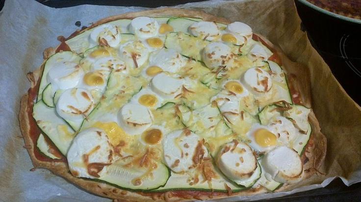 pizza casera de calabacin y queso cabra