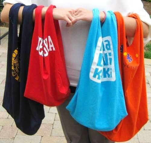 Give old t-shirts a 2nd life! DIY Tote bag. --- why would you ever need to buy tote bags again for groceries? just make them!