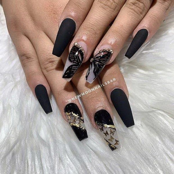 Black Coffin Nails With Butterflies Super Trendy Acrylic Nails For 2020 Pretty Acrylic Nails Clear Acrylic Nails Black Acrylic Nails