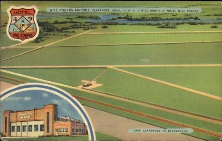 Claremore OK Will Rogers Airport Linen Multi-View Postcard