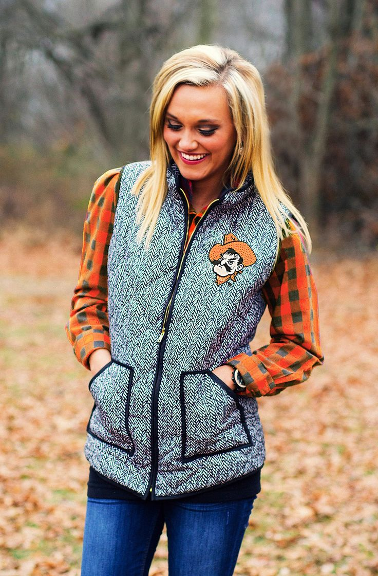 OKLAHOMA STATE HERRINGBONE QUILTED PUFFER VEST