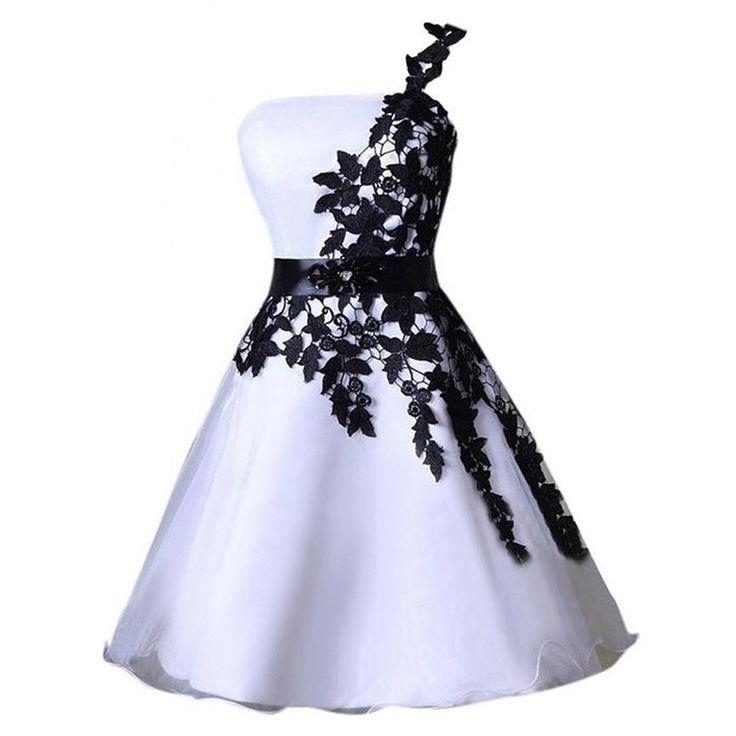 dress, black dress, homecoming dress, ivory dress, one shoulder dress, black homecoming dress, one shoulder black dress, organza dress, black one shoulder dress